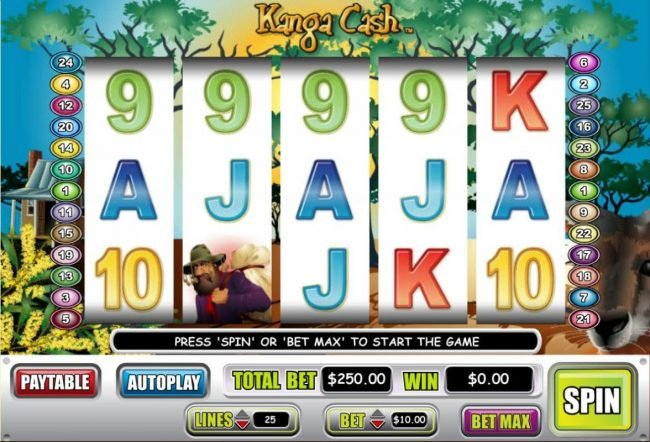 Kanga Cash :: An Australian kangaroo themed main game board featuring five reels and 25 paylines with a $100,000 max payout.