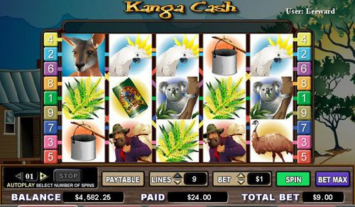 Casimba featuring the video-Slots Kanga Cash with a maximum payout of 6,000x
