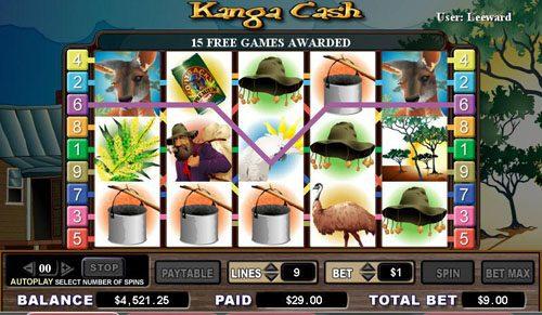 Bonanza featuring the video-Slots Kanga Cash with a maximum payout of 6,000x