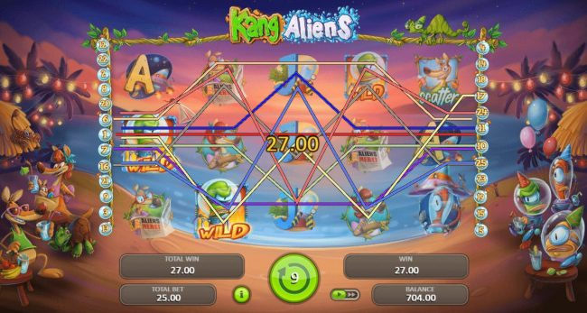 Split Aces featuring the Video Slots Kang Aliens with a maximum payout of $62,500