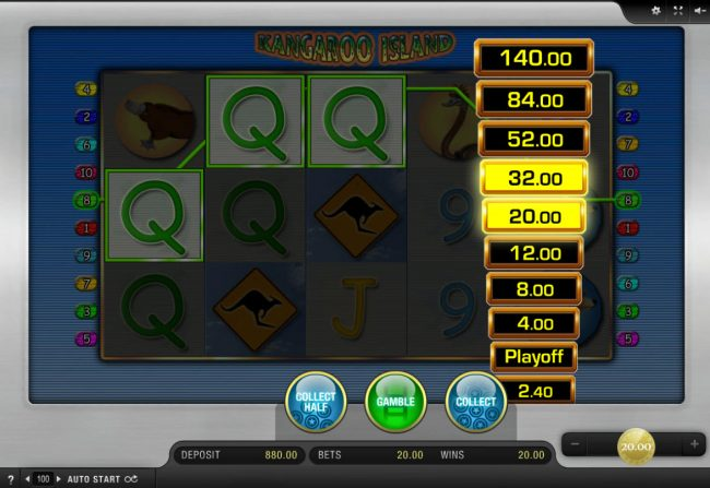 DruckGluck featuring the Video Slots Kangaroo Island with a maximum payout of $20,000