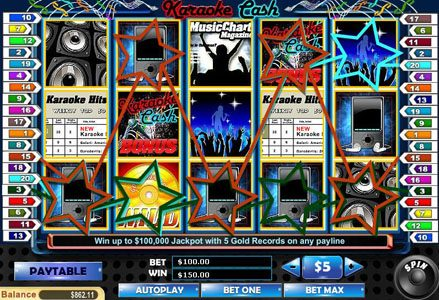 Miami Club featuring the Video Slots Karaoke Cash with a maximum payout of $100,000