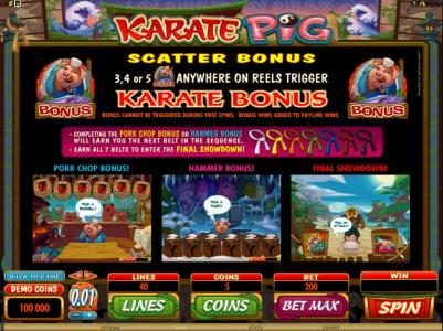 Bonanza featuring the Video Slots Karate Pig with a maximum payout of $25,000