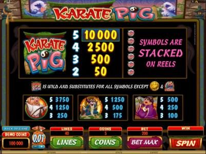 Aztec Ritces featuring the Video Slots Karate Pig with a maximum payout of $25,000