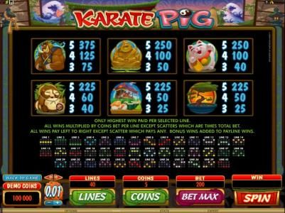 Joy Casino featuring the Video Slots Karate Pig with a maximum payout of $25,000