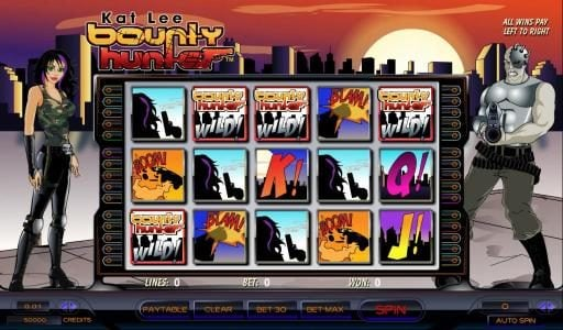 Kat Lee Bounty Hunter :: main game board featuring 5 reels and thirty paylines