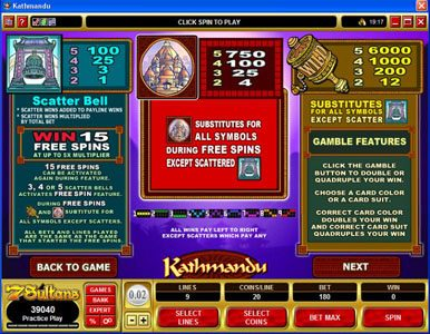 Kerching featuring the Video Slots Kathmandu with a maximum payout of $30,000
