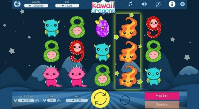 CryptoWild featuring the Video Slots Kawaii Dragons with a maximum payout of $75,000
