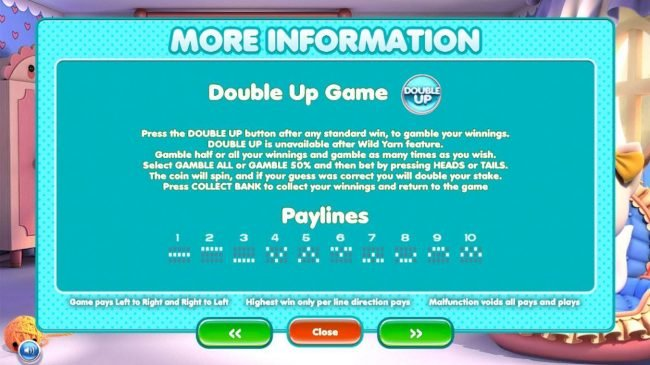 Double Game Rules and Payline Diagrams 1-10.