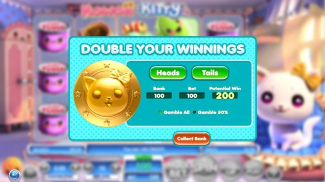 Kawaii Kitty :: Double Up Feature is a available after every winning spin. Select either heads or tails for a chance to double your winnings.