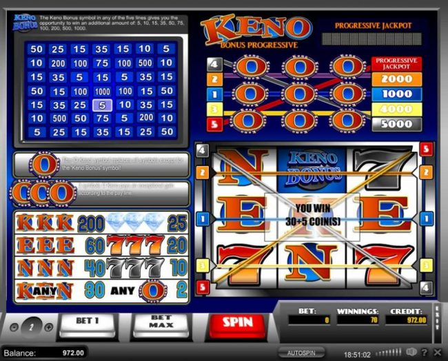 Keno :: Evry time the Keno Bonus symbol appears in comjunction with a winning payline. The keno Bonus is activated, randomly selecting a win multiplier.