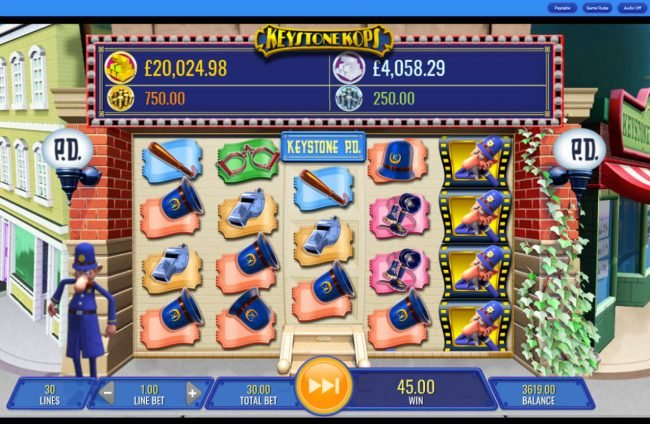 Vegas Baby featuring the Video Slots Keystone Kops with a maximum payout of $25,000,000