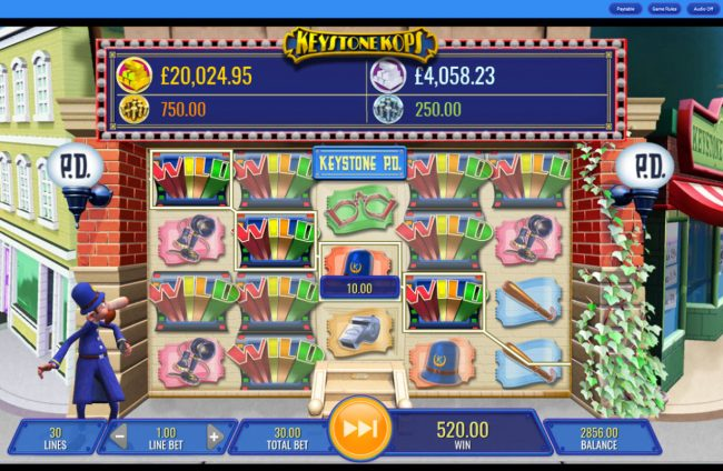 Winstar featuring the Video Slots Keystone Kops with a maximum payout of $25,000,000