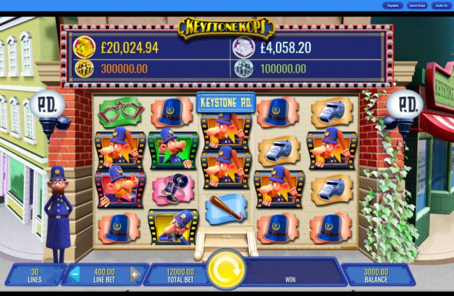 Caesars featuring the Video Slots Keystone Kops with a maximum payout of $25,000,000