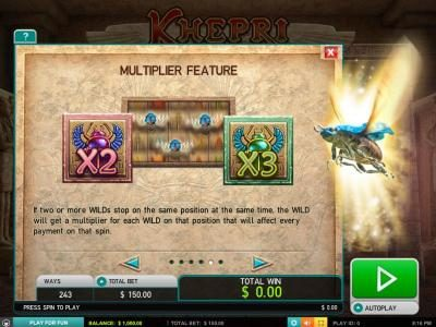 Slotty Vegas featuring the Video Slots Kherpi The Eternal God with a maximum payout of $60,000