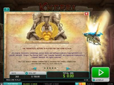 Sin Spins featuring the Video Slots Kherpi The Eternal God with a maximum payout of $60,000