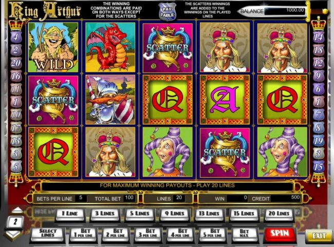 Play slots at Jaak Casino: Jaak Casino featuring the Video Slots King Arthur with a maximum payout of $10,000
