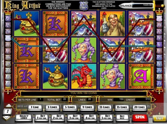 Play slots at Karamba: Karamba featuring the Video Slots King Arthur with a maximum payout of $10,000
