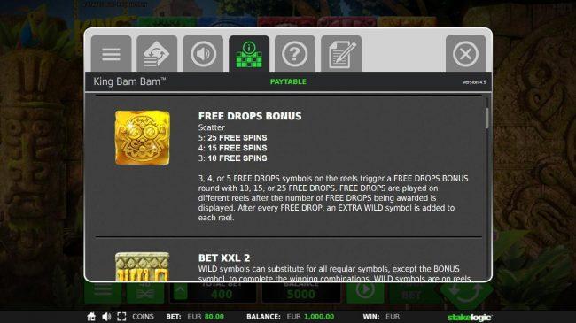 King Bam Bam :: Free Drops Bonus Rules