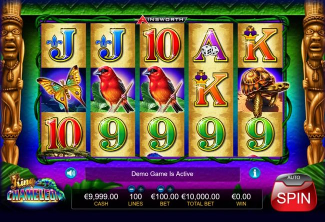 King Chameleon :: Main game board featuring five reels and 1000 paylines with a $1,000,000 max payout.