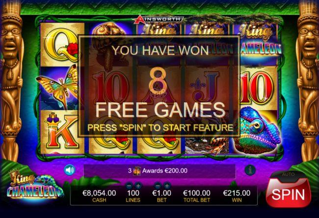 King Chameleon :: 8 Free Spins Awarded