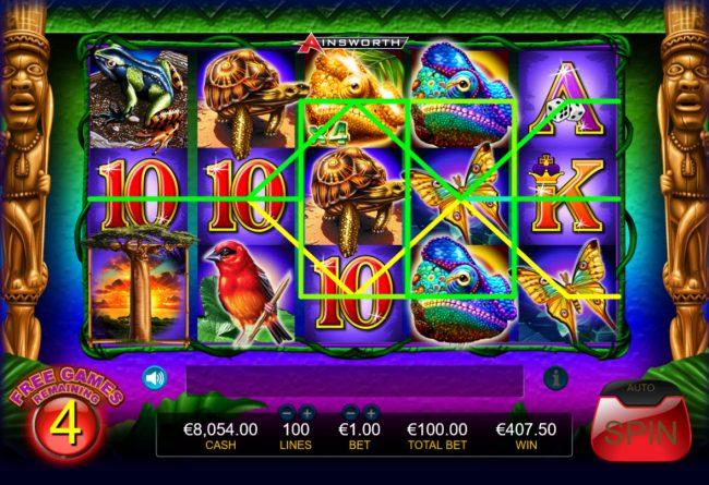 King Chameleon :: Free Spins Game Board