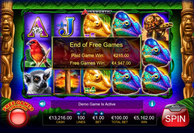 King Chameleon :: Total free games payout 4947 coins