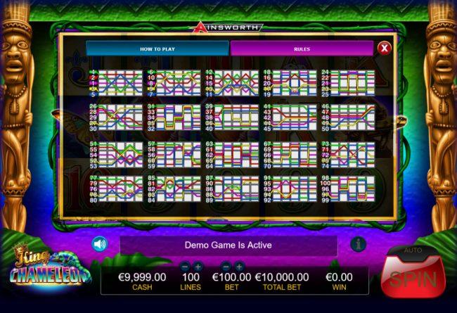 King Chameleon :: Paylines 1-100