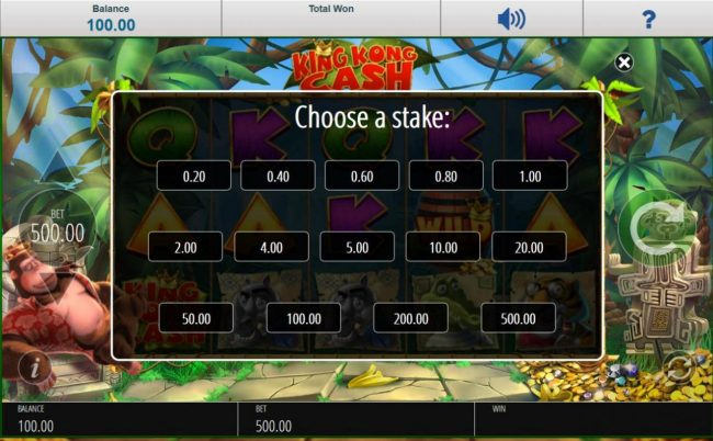 Choose a Stake - Bet options available for this video slot game.