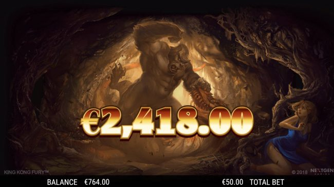 King Kong Fury :: Total free games payout 2418 coins