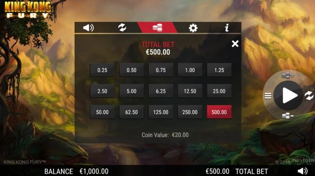 King Kong Fury :: Betting Options