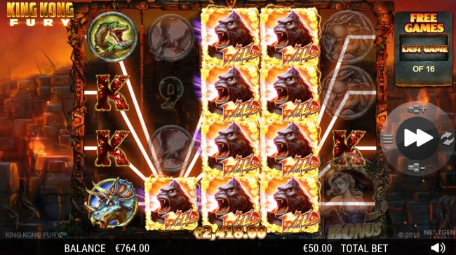 King Kong Fury :: Multiple winning paylines triggers a big win