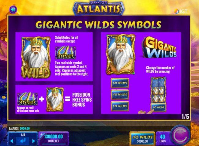 King of Atlantis :: Gigantic Wilds Symbol Rules