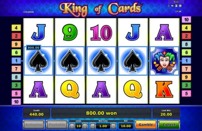 My Bet featuring the Video Slots King of Cards with a maximum payout of $45,000