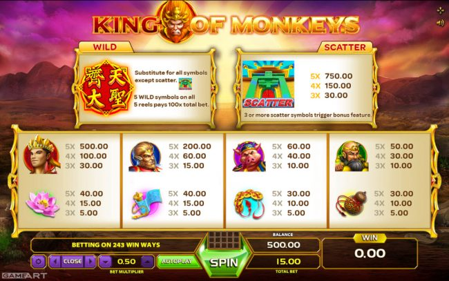 Cyber Spins featuring the Video Slots King of Monkeys with a maximum payout of 0
