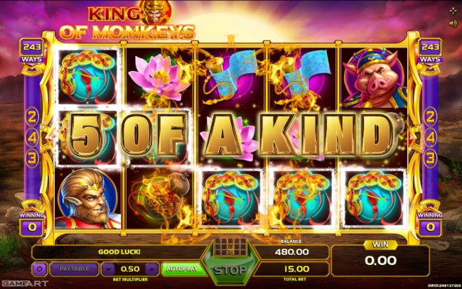 Play slots at 7 Gods Casino: 7 Gods Casino featuring the Video Slots King of Monkeys with a maximum payout of 0