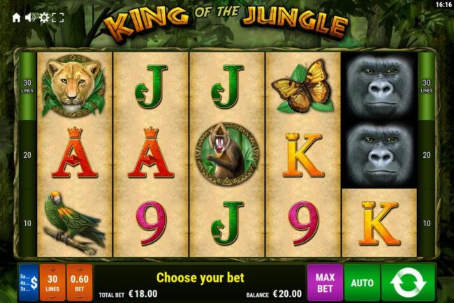 King of the Jungle :: Main game board featuring five reels and 30 paylines with a $600 max payout.