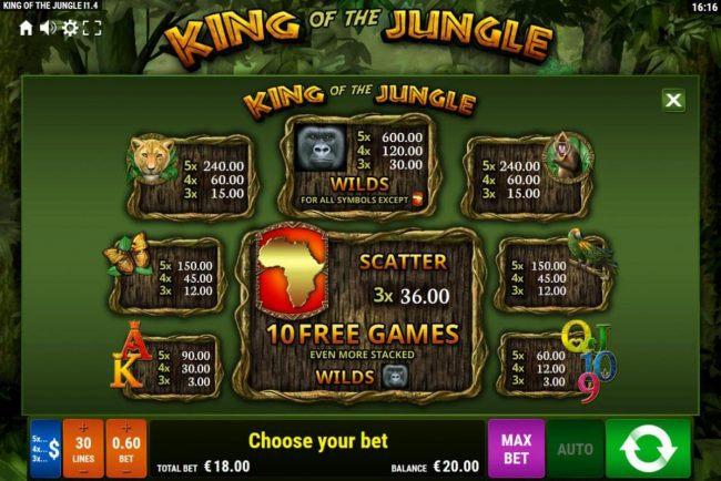King of the Jungle :: Paytable
