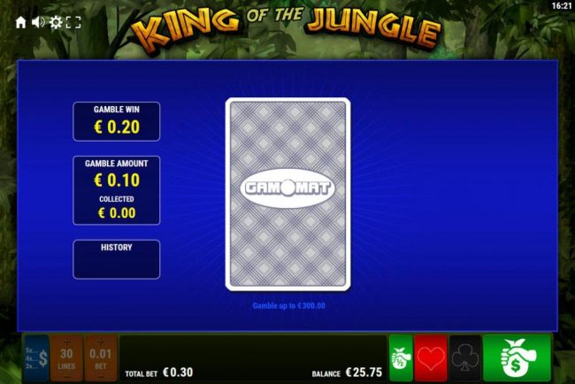 King of the Jungle :: Gamble Feature - To gamble any win press Gamble then select Red or Black.