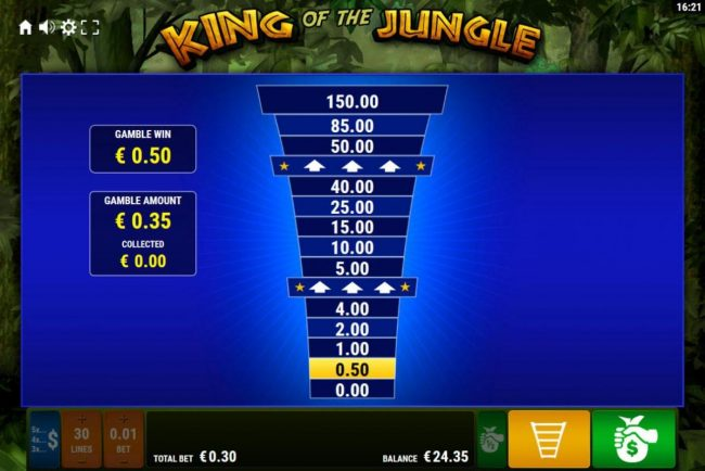 King of the Jungle :: Ladder Gamble Feature Game Board available after every winning spin.