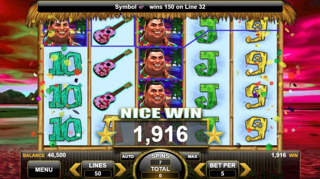 King of the Luau :: Multiple winning paylines triggers a big win