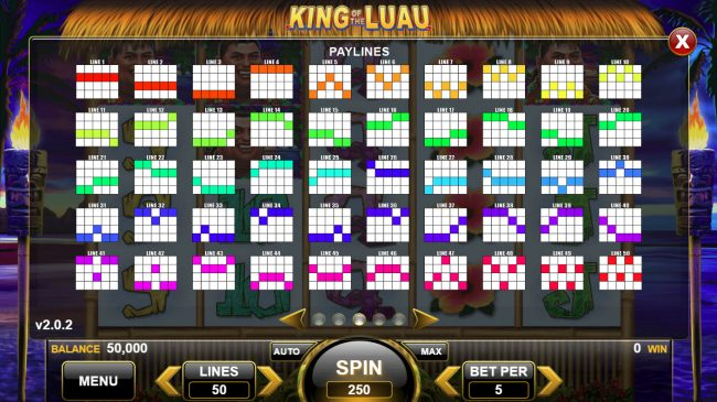 King of the Luau :: Paylines 1-50