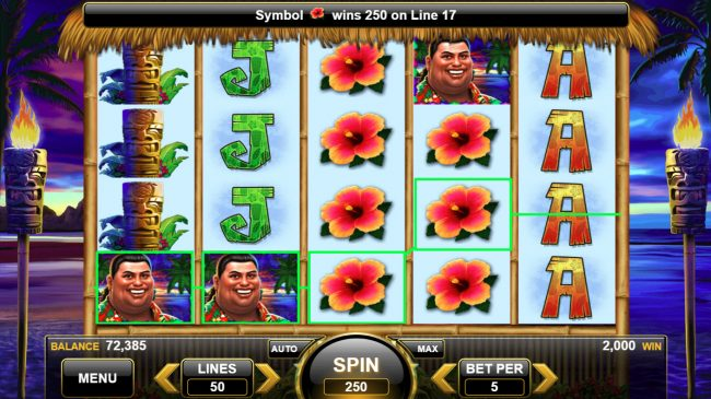King of the Luau :: Multiple winning paylines