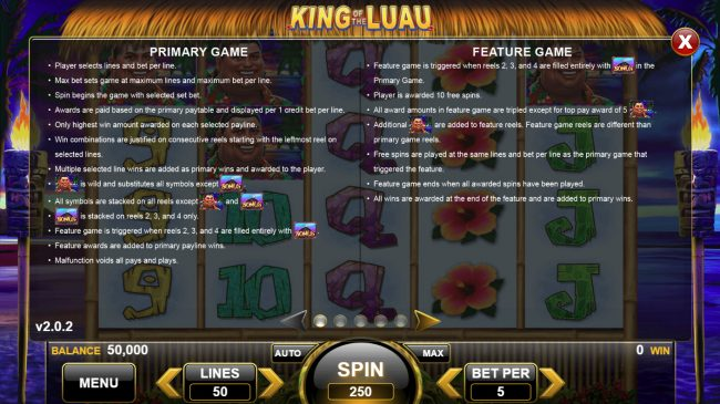 King of the Luau :: Feature Rules