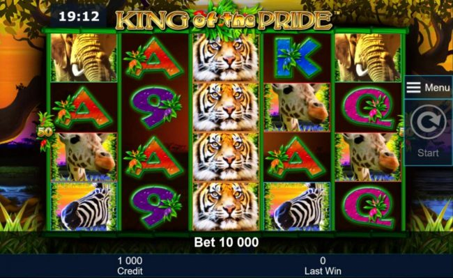 A safari themed main game board featuring five reels and 50 paylines with a $200,000 max payout