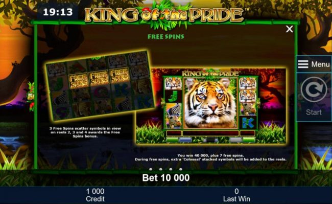 Three free spins scatter symbols in view on reels 2, 3 and 4 awards the Free Spins Bonus.