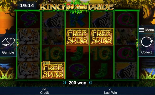 Three Free Spins scatter symbols triggers a 200 coin payout and awards Free Games Bonus.
