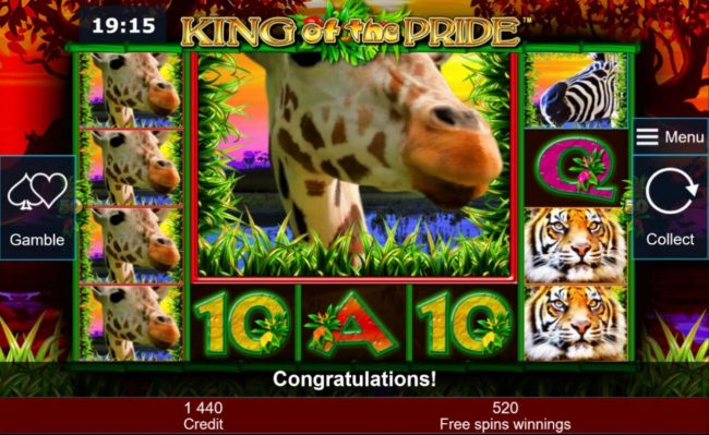 Quasar featuring the Video Slots King of the Pride with a maximum payout of $200,000