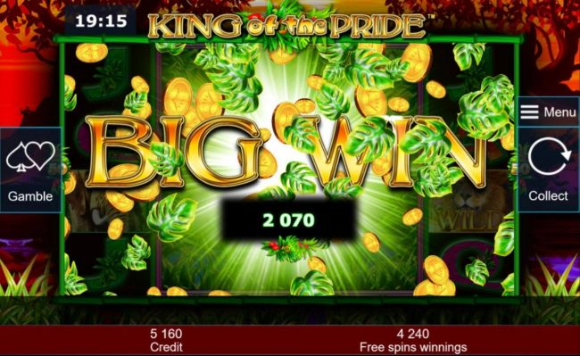 A 2070 big win triggered during the Free Games bonus feature.