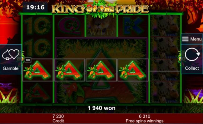 Multiple winning paylines triggers a 1940 coin big win during the free games feature!